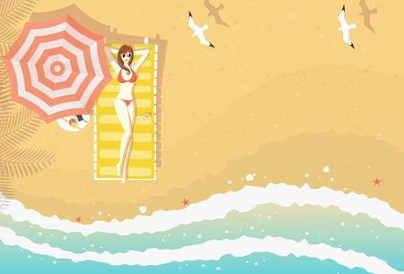 Sexy woman with bikini lying on sun lounger on the beach with textured sand, curving sea waves, starfishes, shells and flying seagulls, from top view