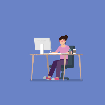Young woman with glasses in casual clothes working on desktop computer at desk with pen tablet, coffee cup and cactus in flat style