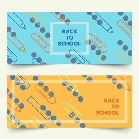 Back to school banners with simplified geometric line of pencils and paper clips on plain background Ilustracja