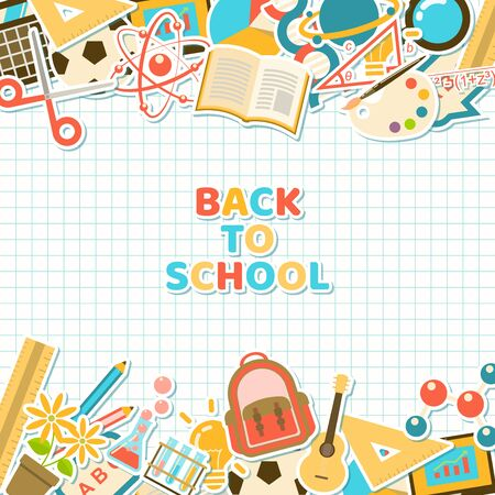 Back to school background with colorful course and school element stickers in flat style on grid paper