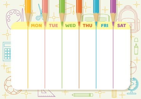 School timetable with color pencils draw colorful lines on light yellow paper with school and class elements line art