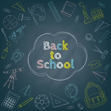 Back to school background surrounded by colorful chalk drawing of stationery, course and school items on black chalkboard