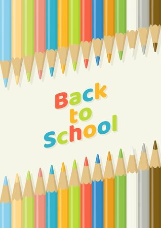 Back to school concept with multicolor wooden color pencils in diagonal alignment on light yellow background from top view