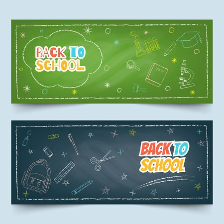 Back to school banners with multicolor chalk drawing of school and class elements on green and black textured chalkboard