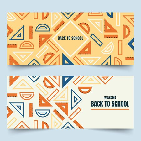 Back to school banners with simplified rulers, semicircle protractors and triangular set squares on plain background