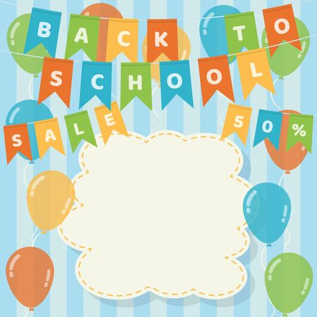 Back to school banner with colorful hanging flag garlands, balloons and blank stitched cloud on blue strips background