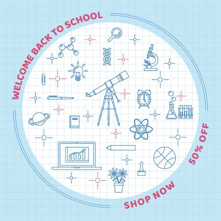 Back to school background with school and class elements in line art style on grid paper