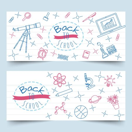 Back to school banners with school and class elements line art on notebook paper Illustration