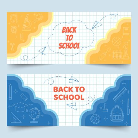 Back to school banners on white grid paper with school , class elements, stationery and paper planes in line art style