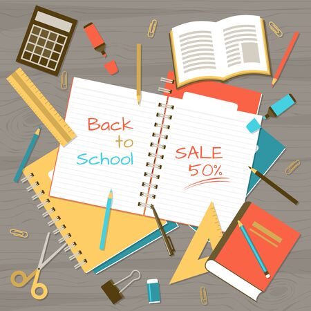 Back to school banner with realistic note pads, school and class elements on wooden table from top view Illustration