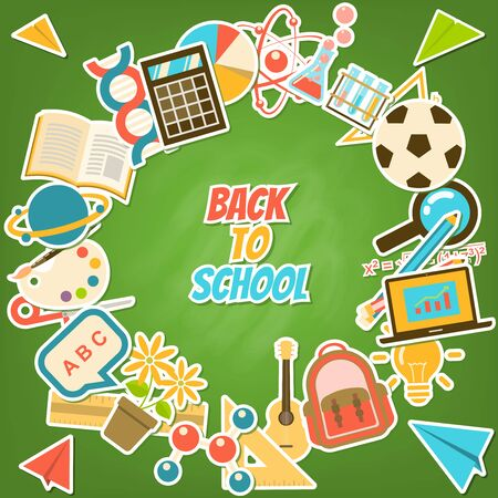 Back to school background surrounded by course and school elements, stationery on green blackboard in flat sticker style