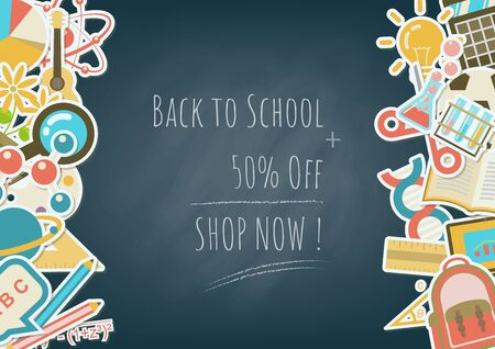 Back to school background with school elements, subjects and stationery in flat sticker style on left and right side with sale calculation method on black chalkboard