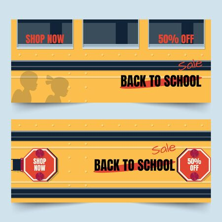 Back to school banners with side part of yellow school bus, stop signs, windows and children shadow