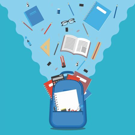 Back to school concept, backpack with flying school supplies, stationery on blue background Ilustracja