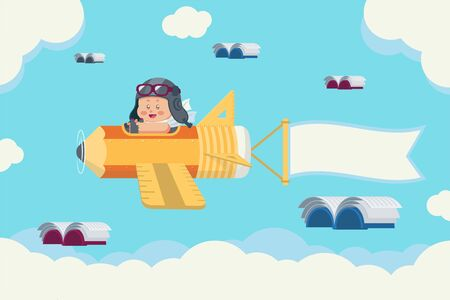 Young boy with retro pilot hat and glasses on stationery plane with pencil, ruler, triangle set square, banner and flying books in the sky with clouds Ilustracja
