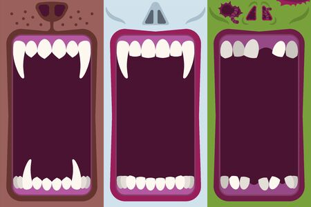 Halloween banners set with opening mouths ready to bite of werewolf, vampire and zombie in flat cartoon style Çizim