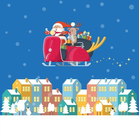 Santa Claus and reindeer riding red vintage scooter with big deer horn at night carring present box sacks flying over winter town with colorful buildings, trees, snowman and snow in flat cartoon style Illustration