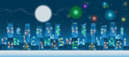 Two in one set of panoramic Merry Christmas and Happy New Year alphabets on illuminated windows of high rise buildings in a night city with snow flakes, glowing moon,  milky way, stars and fireworks Illustration
