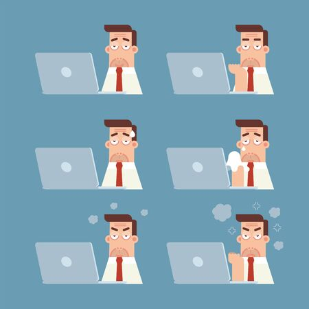 Set of businessman with wrinkle working on laptop computer expressing different emotions in flat cartoon style