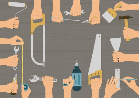 Realistic hands holding several construction, repair and DIY hand tools set on wood table background Stock Illustratie