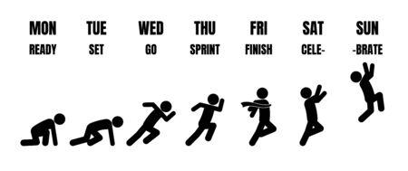 Evolución del ciclo de vida laboral semanal de lunes a domingo en figura de palo negro que ejecuta pasos desde el punto de partida hasta la línea de llegada sobre fondo blanco. Ilustración de vector