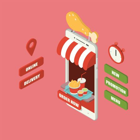 Giant isometric smartphone with fried chicken leg sign, chicken bucket, mashed potatoes, coleslaw and cold drink serving on tray, shop, counter, big sign, stopwatch and buttons 向量圖像