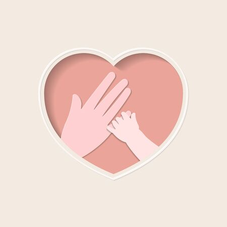 Small hand holding finger of big hand represent mother and baby, in pink heart shaped frame paper art greeting card
