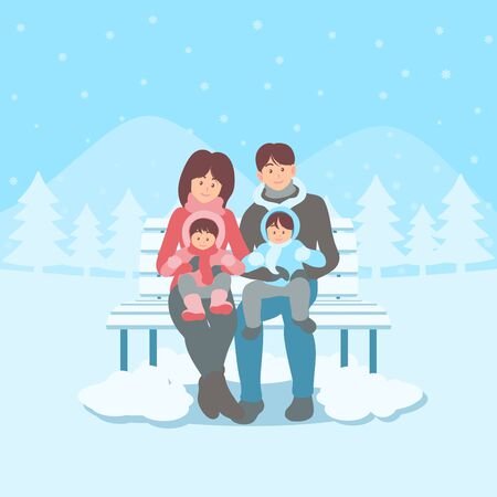 Happy family members in winter clothes sitting on a bench in snowy landscape in hand drawn flat cartoon style