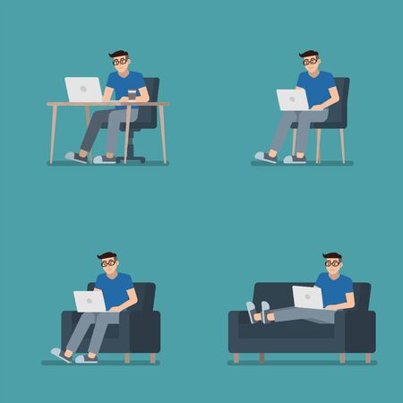 Set of man in casual clothes working on laptop computer sitting at desk, on chair, armchair and lying on sofa in flat cartoon style Illustration
