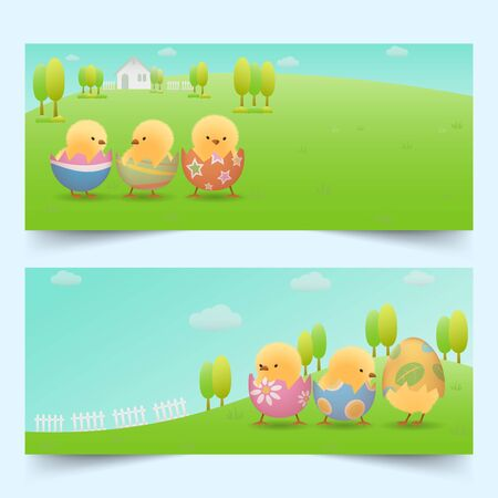 Banners set of yellow chicks in cracked easter eggs on green slope with house, fences, trees and clear blue sky