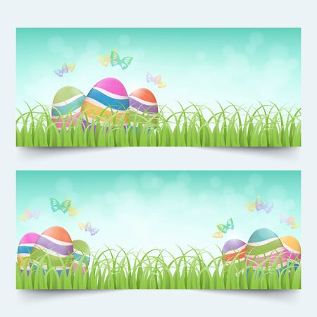 Groups of colorful easter eggs with butterflies in grass field and bright blue sky banners set