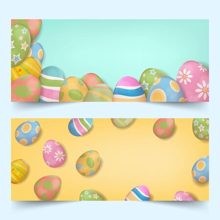 Banners set of realistic colorful easter eggs grouping on bright background from side and top view