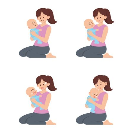 Set of young mother sitting and holding sad baby with different actions, being sad, crying, screaming  and sobbing in flat cartoon style