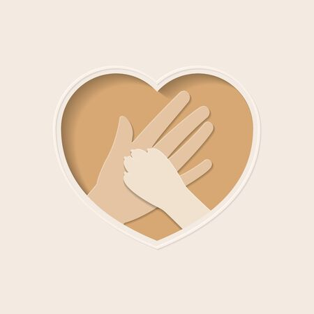 Big hand of human holding paw of dog, in brown heart shaped frame paper art greeting card