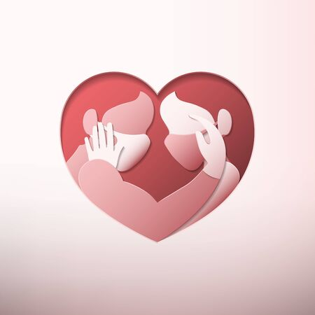 Side view of man and woman wearing medical face masks and rubber gloves, caressing each other inside heart shaped frame in paper art style Illustration