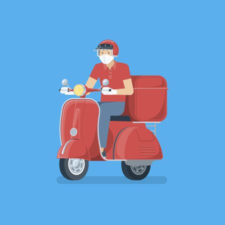 Delivery man wearing medical face mask, rubber gloves , uniform and helmet riding red retro scooter with box in flat cartoon style for contactless delivery concept Illustration