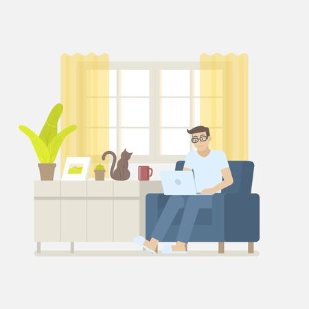 Young man in casual clothing working at home with laptop computer on an armchair in a living room interior with window, curtain, cabinet, picture frame, plant, coffee mug and cat in flat cartoon style