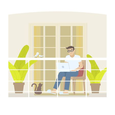 Young man in casual clothing working at home in daytime with laptop computer on balcony with railing, door, curtain, pillow, plant, cat and birds in flat cartoon style