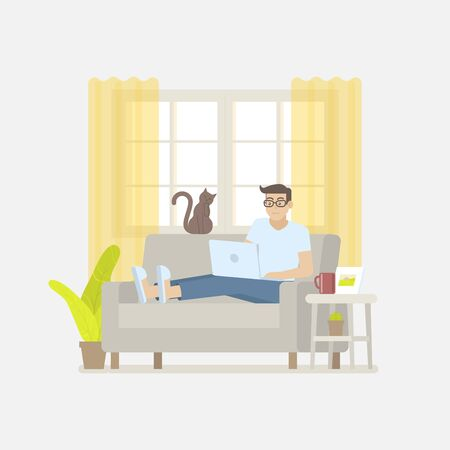 Young man in casual clothing working at home with laptop computer on a sofa in a cozy living room with windows, curtain, cabinet, picture frame, plant, cactus, coffee mug and cat in flat cartoon style