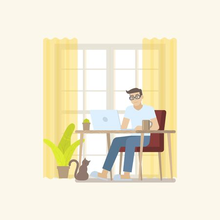 Young man in casual clothing working at home in daytime with laptop computer at desk in a cozy room interior with door, curtain, plant, coffee mug and cat in flat cartoon style Illustration