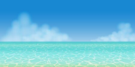 Realistic clear turquoise summer sea water in panoramic view with blue sky and clouds
