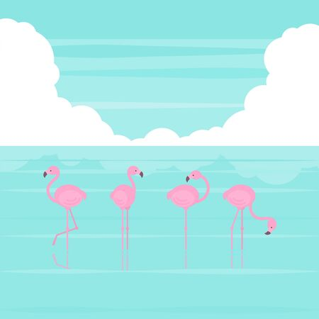 Pink simplified flamingos standing in several poses in sea water and bright blue sky with cloud in flat cartoon style