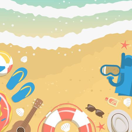 Banner of sand and sea water from top view with summer vacation elements like diving mask, flip flops, ukulele, rubber ring, sunglasses, beach ball, sunscreen lotion, hat, shells and starfishes Illustration