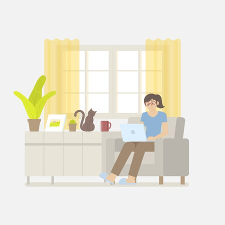 Young woman in casual clothing working at home with laptop computer on armchair in a living room interior with window, curtain, cabinet, picture frame, plant, coffee mug and cat in flat cartoon style
