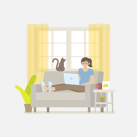 Young woman in casual clothing working at home with laptop computer on sofa in cozy living room with windows, curtain, cabinet, picture frame, plant, cactus, coffee mug and cat in flat cartoon style