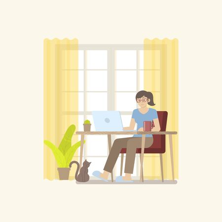 Young woman in casual clothing working at home in daytime with laptop computer at desk in a cozy room interior with door, curtain, plant, coffee mug and cat in flat cartoon style