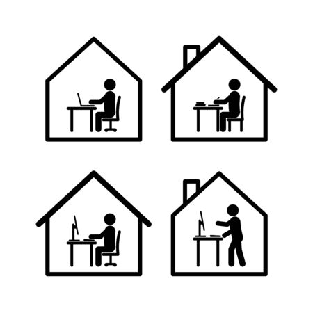 Work at home symbol set in black and white stick figure style in several actions with computers, tables, books and simplified houses