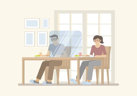 Man and woman having meal on table with transparent partition for protecting covid-19 infection, in restaurant interior, social distancing and new normal concept in flat cartoon style 向量圖像