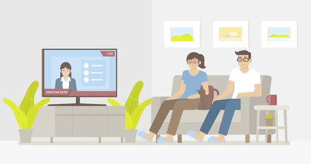 Woman, man and cat sitting on sofa and watching breaking news on smart tv in cozy living room with news reporter on screen in flat cartoon style Illustration