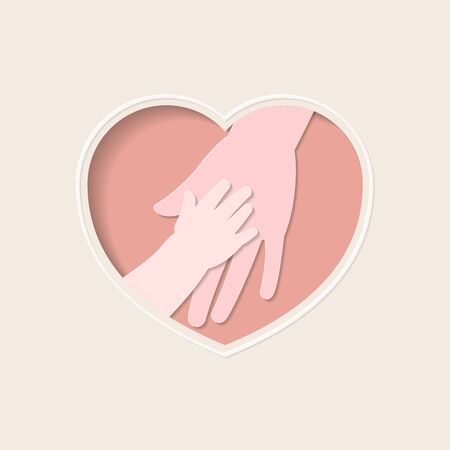 Big hand holding small one represent mother and baby, in pink heart shaped frame paper art greeting card style Illustration